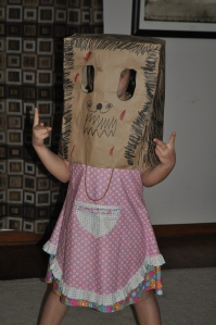 That's Maddie under the paper-sack mask!