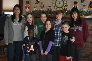 All the kids--and a couple cousins--at the grandparents over Christmas break