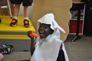 "PJ in his bunny costume for last week's kindergarten Mother's Day program. You can barely see his sling under the costume. His teacher said, ""Good thing he wasn't a bird! They have to flap their wings!"""