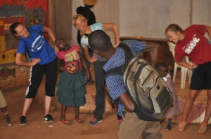 Julius (who is getting married to beautiful, smart Hope very soon) working with the kids at the school in Kitange.