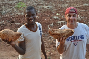 Wilfred showed Dave all the projects they want to do at the Village (including an extensive garden--already happening) and they came back w/ 2 giant sweet potatoes, which we'll eat at some point this week!