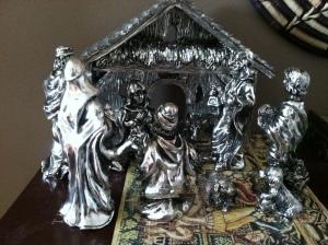 silver nativity