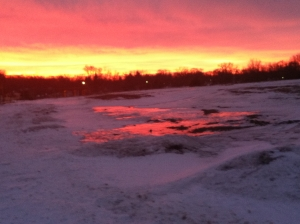 Sorry for the poor photo quality, but I took this on my phone on an early-morning jaunt a couple weeks ago. The sunrise reflected on a patch of ice in a field. Definitely a moment of awe!