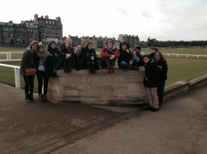 "Group in front of the ""old course"" at St. Andrews"