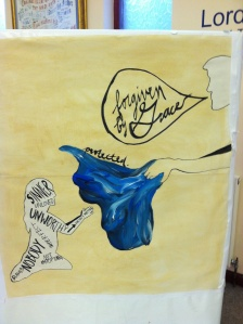 This is the art piece Meghan created for the church while Dave preached.