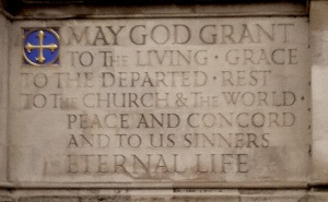 I took this picture when I was at Westminster Abbey in January--this is etched on the outside of the entrance.