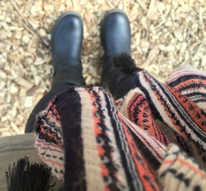My feet in two of their favorite places: in boots (that means fall is here!) and on the trail!